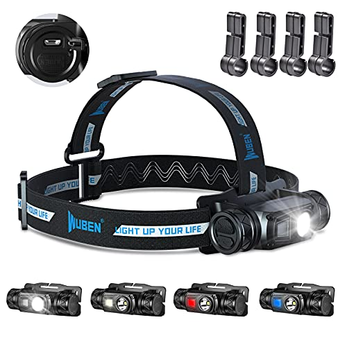 WUBEN Linterna frontal H1, 1200 lúmenes, LED, varias fuentes de luz, linterna frontal, recargable por USB, IP68, resistente al agua, tiras reflectantes, ligera, linterna frontal