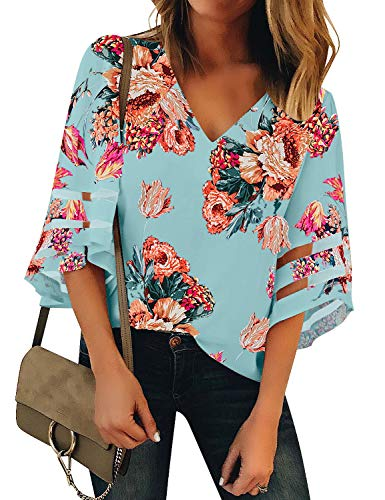 LookbookStore Women Blue Floral Print Tops for Women V Neck Casual Mesh Panel Blouse 3/4 Bell Sleeve Loose Top Shirt Size M(US 8-10)