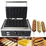 Hotdog Gofrera eléctrica de 1500 W, 6 unidades, para hacer gofres calientes, no se pega, de acero inoxidable, para hacer gofres y sausage Corn