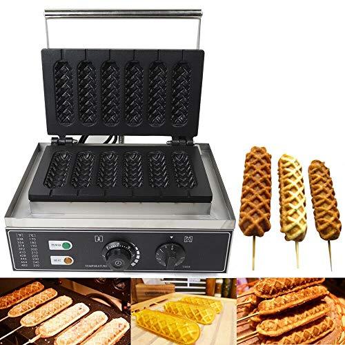 Hotdog Waffeleisen, 1500W 6 Units Elektro Hotdog Waffle Maker Nonstick Kommerzielles Waffeleisen Edelstahl für Waffle Making and Sausage Corn