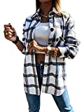 Meceku Womens Flannel Plaid Shirts Long Sleeve Casual Mid-Long Blouses Button-Down Shirts with Pockets White Large