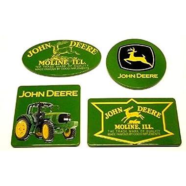 John Deere Set of 4 New Collectible Licensed Embossed Decorative Tin Fridge Magnets