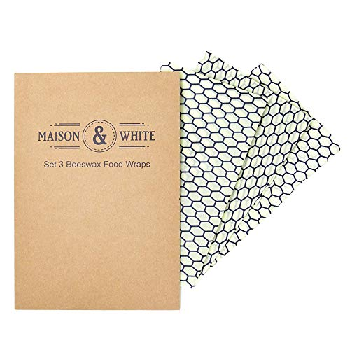Maison & White Juego de 3 envolturas de cera de abejas  