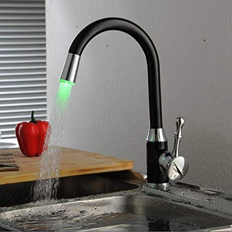 FZHLR Schwarze Küchenarmatur Led Temperaturregelung Küchenarmatur Kaltwarmwasser-Mischarmatur 360 Grad Küchenschwenk