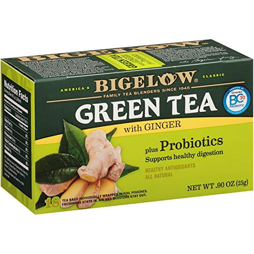 Bigelow Green Tea with Ginger Plus Probiotics, 18 Count Box, (Pack of 6), Caffeinated Green Tea 108 Tea Bags Total