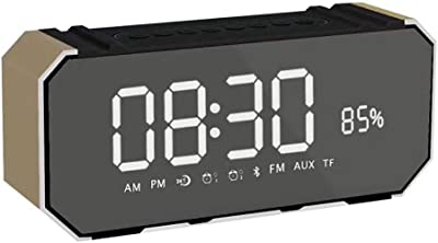 Mslike Inalámbrico Bluetooth Reloj Despertador Altavoz LED Pantalla Grande Pantalla FM Radio USB Juego