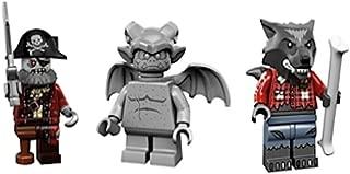 LEGO Werewolf, Zombie Pirate Captain, Gargoyle Collectible Minifigures Series 14 Monsters, Zombies, Halloween Custom Bundle 71010