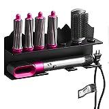 Kyrio - Soporte de pared para secador de pelo para Dyson Airwrap Styler y 7 rizos barriles, kit de rizos, organizador de pared, color negro