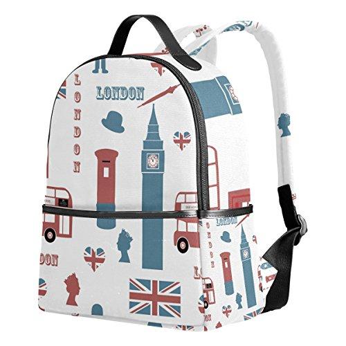 Ahomy Schulrucksack, London Union Jack Bookbag Reise Groß Casual Rucksack Daypack für Jugendliche Mädchen Jungen