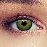 Lenti a contatto colorate verde naturale per gli occhi scuri senza diottrie + gratis caso di lenti Modello'Dimension Green'