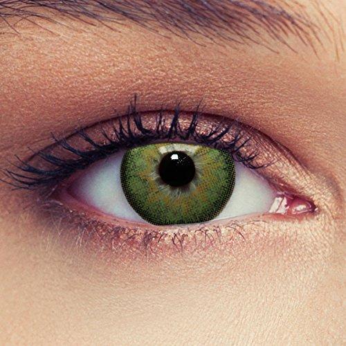2 Grüne Kontaktlinsen mit Stärke natürlich wirkende farbige Drei Monatslinsen, geeignet für dunkle Augen + Gratis Behälter -1,00