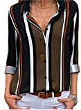 Astylish Women Color Block Button Down Long Roll up Sleeves Work Shirt Blouse Tops Large 12 14 Black from