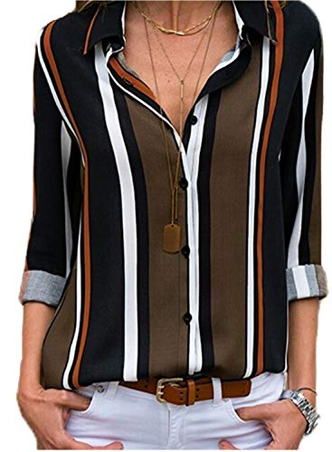 Buttoned front to adjust v neck and comfortable to wear Features: Button down, V neck, Stripes, Color Block,Cuffed Sleeve Match well with jeans, pants, leggings and shorts Suit for daily wear, date, vacation, work, casual,office work ATTENTION: Accor...