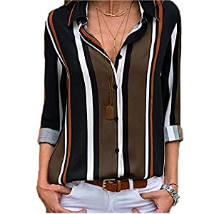 Women's  V Neck Striped Roll up Sleeve Button Down Blouses Tops