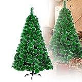 HENGMEI 210cm Artificial Árbol de Navidad Decoración Navideña, Material PVC Aguja de Pino, Verde con Nieve con Soporte en Metal
