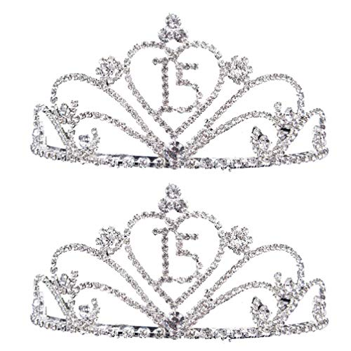 Save %15 Now! Beaupretty 2PCS 15 Birthday Tiara Birthday Crown Birthday Caps Headdress Headwear Phot...