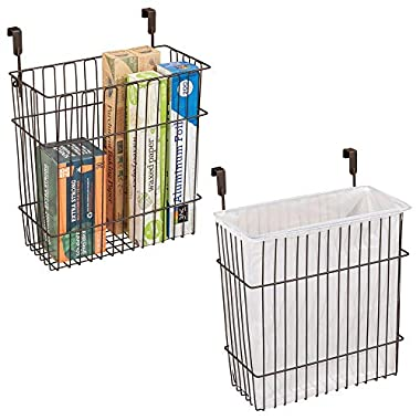 mDesign Hanging Over Door Kitchen Storage Organizer Basket/Trash Can - Hangs Over Cabinet Doors - Pack of 2, Solid Steel Wire with Bronze Finish