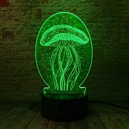 Luz nocturna con forma de pez de jalea en 7 colores que cambian de fiesta USB caja de alimentación regalo hueso hogar acrílico dormitorio luz nocturna 3D