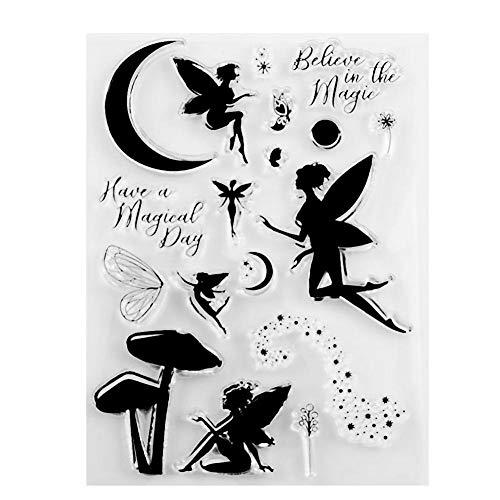 Prosperveil Stempel für Scrapbooking, Karten, Basteln, Silikon-Stempel, für Geburtstag, Hochzeit, Weihnachten, DIY Kunst Basteln Dekoration Fairy Angel