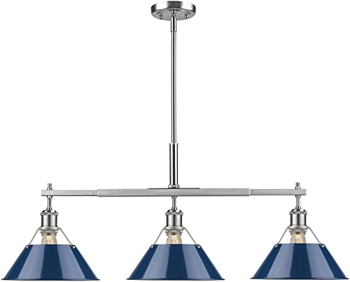 new arrival Golden high quality Lighting 3306-LP PW-NVY Orwell Linear Pendant, Pewter with 2021 Navy Blue Shade online