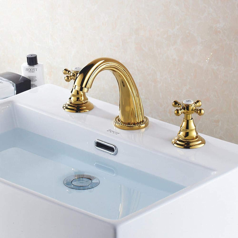 Wasserhhne Gold verbreitet Bad Becken Wasserhahn Deck Mount 3 Lcher Waschbecken Mischbatterie Gold poliert