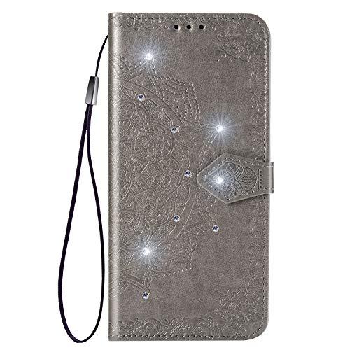 Hülle für Galaxy A72 5G Lederhülle Flip Tasche Klappbar Handyhülle mit [Kartenfächer] [Ständer Funktion], Cover Schutzhülle für Samsung Galaxy A72 5G - JESD032496 Grau