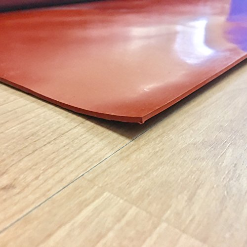 """Silicone - Commercial Grade Red/Orange - 55A - Rubber Sheets & Rubber Rolls - 1/16"""" Thick x 12"""" Width x 36"""" Length"""
