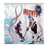 DYCBNESS Rideau de Douche,Deux Joueurs de Hockey sur Glace en Toile de Fond de patinoire Abstraite de Style Dessin animé...