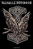 VALHALLA NOTEBOOK: Viking Norse Mythology Huginn and Muninn with Mjölnir | College Line Ruled Urnes Style Notebook