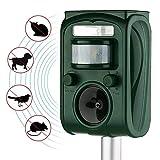 AUTSCA - Ahuyentador de Gatos - Repelente para animales - Con LED, Carga solar y Resistente al Agua - Uso en Exteriores