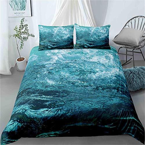 MENGBB Duvet Cover Set 3D Effect Blue sea waves 135x200cm Total 4 Size, give away pillowcase, Duvet Cover single bed with 2 Pillow Cases 50x75cm Microfiber Bedding Quilt Cover Set with Zipper Closure