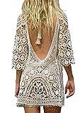 Davicher Traje de baño de mujer bikini trajes de ganchillo cable cubre playa escavando fuera el vestido de playa vestido de verano vestido de playa, blanco, Talla única