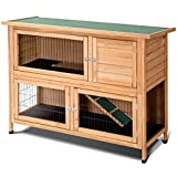 PETSJOY Rabbit Hutch, 52' Large Pet Bunny House Condo, Outdoor Poultry Cage House, Wooden Hen Chicken Coop