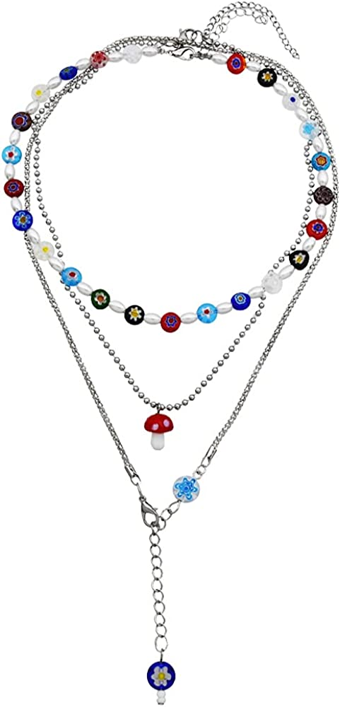 Fresno Mall VALIJINA Max 53% OFF Y2k Necklace Layered Beaded Colorful C Necklaces