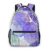 ZHOUWE Sac à dos aquarelle violet pour école, cartable, sac de transport léger pour voyage, sport