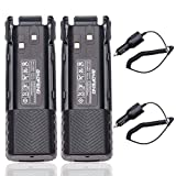 BaoFeng BL-8 3800mAh Li-ion High Capacity Extended Battery with Wired Charging Port Compatible with Baofeng UV-82HP UV-82C MIRKIT UV-82 MK3/5 BTECH Etc Two Way Radio (2Pack Battery+2Car Charger)