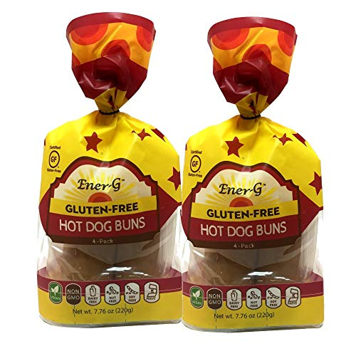 Gluten Free Hot Dog Buns by Ener-G   Vegan, Low-Protein, Non-GMO, Kosher   Double 4-Pack 7.76 oz (8 Individual Buns)