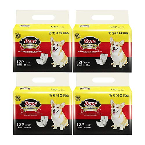 Pañales Desechables para Perros Dono Envolturas para Perros Pañales Suaves Súper Absorbentes para Mascotas Pañales con Indicador de Humedad Cuatro Tamaños