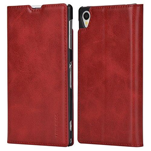 Mulbess Funda Sony Xperia Z1 [Libro Caso Cubierta] Slim de Billetera Cuero Carcasa para Sony Xperia Z1 Case, Vino Rojo