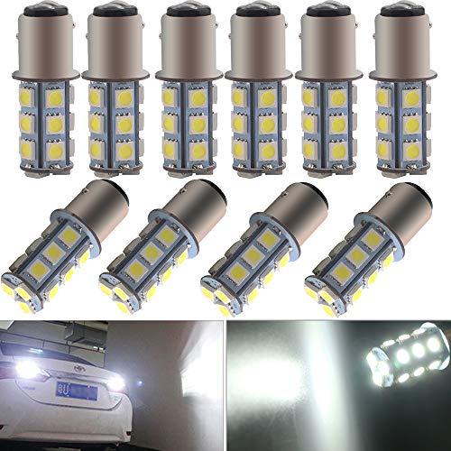 EverBright 10-Pack Extremely Bright White 1157 Led Bulb, BAY15D 1016 1034 7528 2057 LED Bulb Replacement for Car Bulb Tail Brake Light Bulb Backup Reverse Lamp Side Marker Lights, 5050 18-SMD, DC 12V