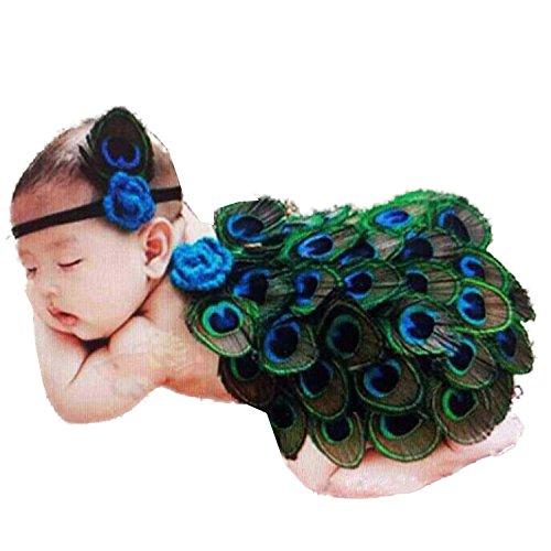DAYAN neugeborene Baby Mädchen Jungen Häkelarbeitknit Kostüm Foto Fotografie Prop Outfits-Pfau