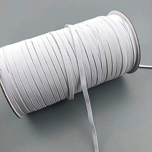 Elastic Bands for face mask - Width Braided Elastic Cord for Crafts,Elastic Rope,Bungee,White Heavy Stretch Knit Elastic Spool for Mask Making Hanging Sewing,6mm,100Yards