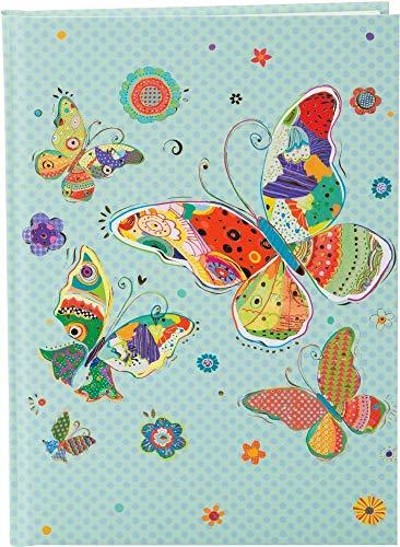 goldbuch 64411 - Notizbuch DIN A5 Mosaic Butterfly Blau im Turnowsky Design, Kladde mit 200 Creme Seiten, Papier blanko, mit Kunstdruckpapier Einband, Relief, Goldprägung & Lesezeichen, ca. 15x22 cm