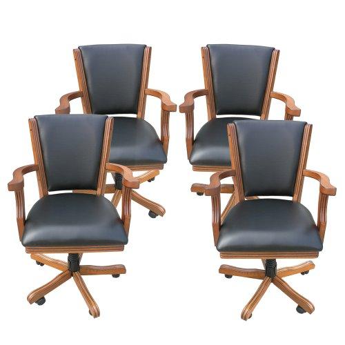 Hathaway Kingston Oak Poker Table Arm Chair - Set of 4