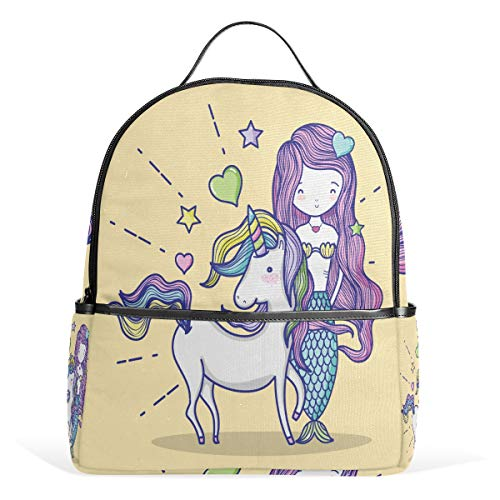 Unicorn Mermaid Fish Casual Student Backpack, Horse Rainbow Durable Unisex School Bag Bookbag Daypack Back Bag Shoulder Bag for School Travel