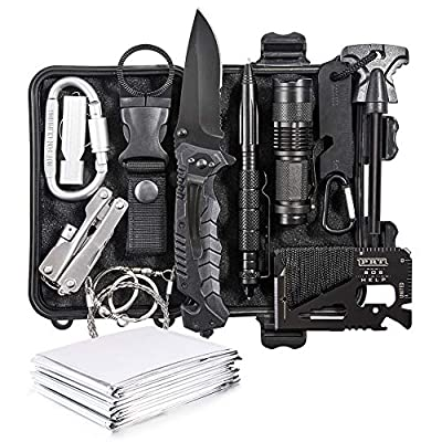 DLY Emergency Survival Kit 13 in 1- Outdoor Survival Gear Tool for Wilderness/Trip/Cars/Hiking/Camping Gear - Emergency Blanket, Flashlight, ect by DLYFAMILY
