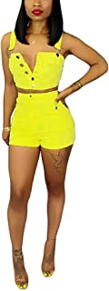 SHINFY Women's Deep V Neck Denim Wide Leg Jumpsuit Romper Bodycon Short Pants - Yellow - S1
