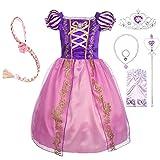 Lito Angels Disfraz de Princesa Rapunzel Vestido de Fiesta de Cumpleaños con Accesorios para Niña, Talla 10 años, Morada