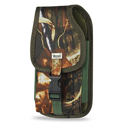 "Reiko Wireless 6.38""X3.53""X0.62"" Vertical Rugged Pouch with Buckle-Belt Clip for XXXL Size Phone with Cover - Camouflage"