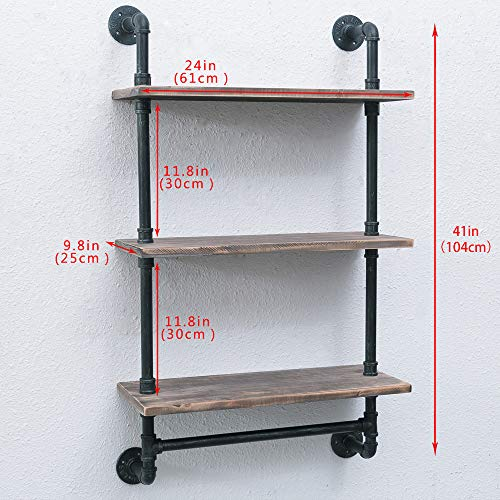 Bathroom Shelves Wall Mounted 3 Tiered,24in Industrial Pipe Shelving,Rustic Wood Shelf With Towel Bar,Black Farmhouse Towel Rack,Metal Floating Shelves Towel Holder,Iron Distressed Shelf Over Toilet